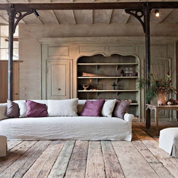 Restoration Girl* Steel pillars, exposed Joists , Belgian contemporary rustic styling.
